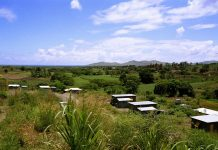 Rural Fiji with mountains in the background