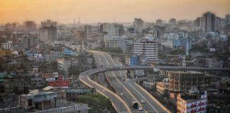 Highway snakes through a city in Bangladesh