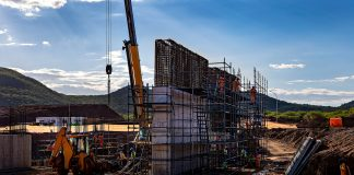 Construction underway with rising steel and concrete