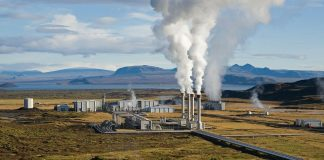 geothermal power plant in rural setting