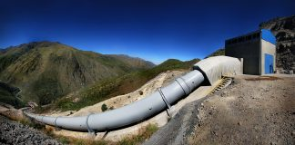 Large water pipe on a hill