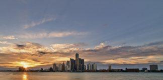 Detroit skyline across Lake Michigan