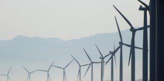Wind turbines on a coastline